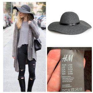 H&M 100% Wool Hat Grey Large Wide Brim Floppy